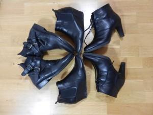 bottines noir cuir compo