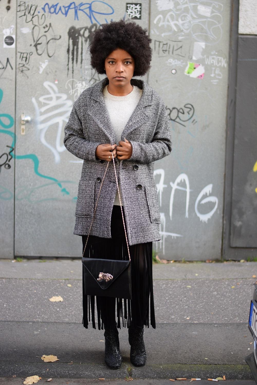 jupe franges manteau gris