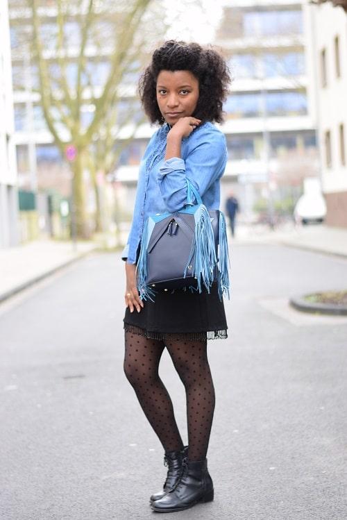 collants plumetis - sac à main - bleu entier