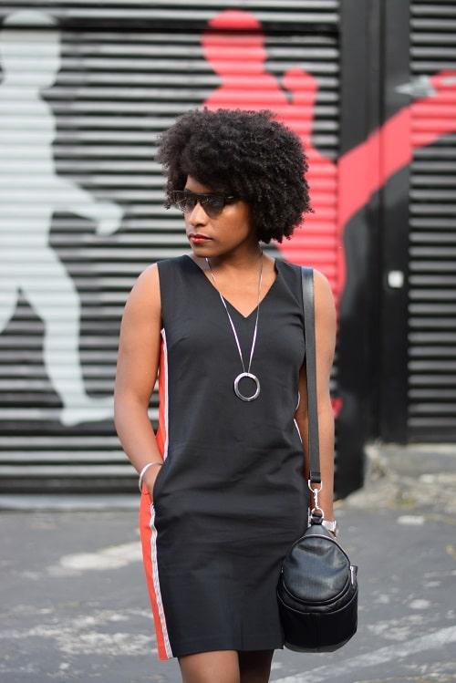 robe bicolore de face noir