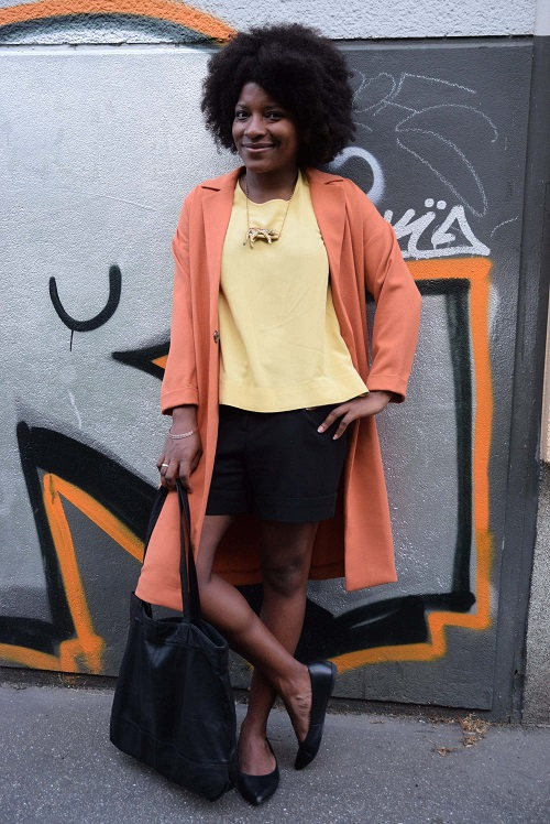 manteau orange ouvert top jaune smile