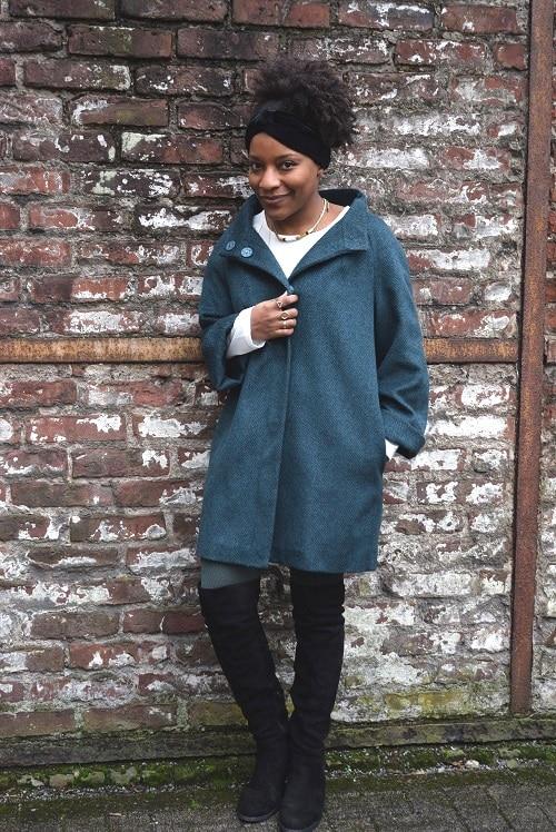 bandeau en velours manteau vert