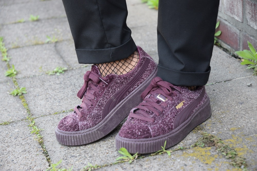 baskets puma heart plateforme violettes