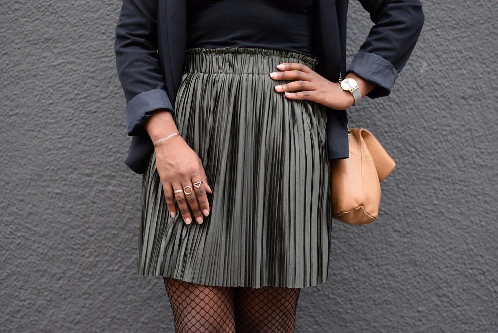 jupe plissée kaki reflets