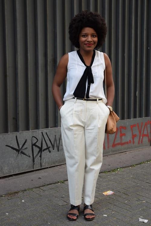 pantalon blanc cassé rayures fines mango