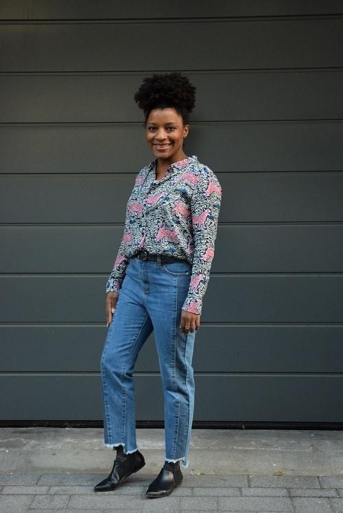jean taille haute franges en bas suncoo