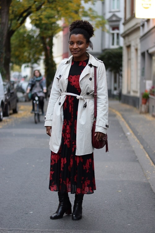 robe midi et trench coat bottines
