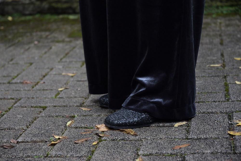 bottines à paillettes combinaison large en velours