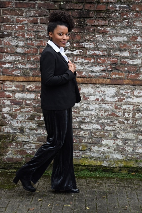 combinaison pantalon en velours blazer noir