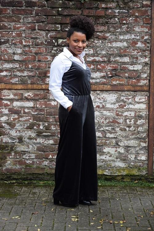 combinaison pantalon large velours bleu gris weekday