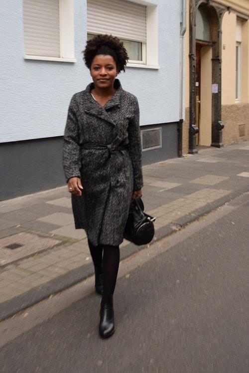 long manteau laine gris ceinture taille