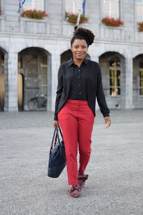 pantalon cigarette rouge sac funambule triptikh