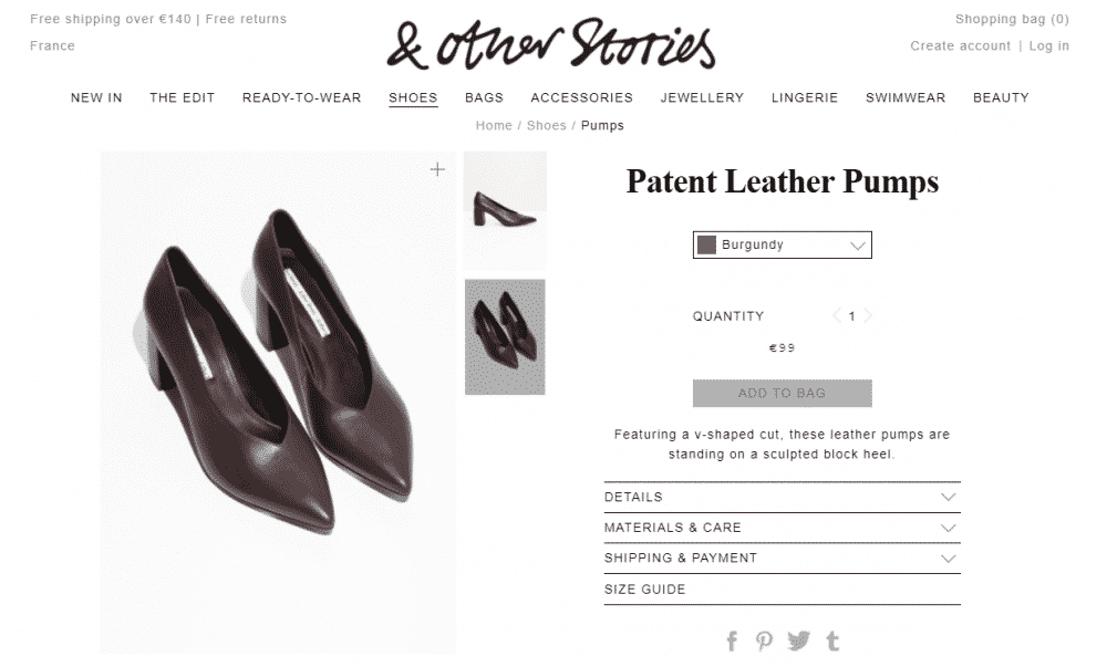Patent Leather Pumps - Burgundy - & Other Stories