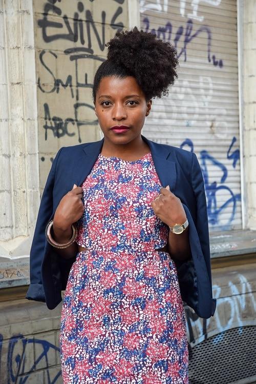 robe imprimée rose bleu blanc streetstyle