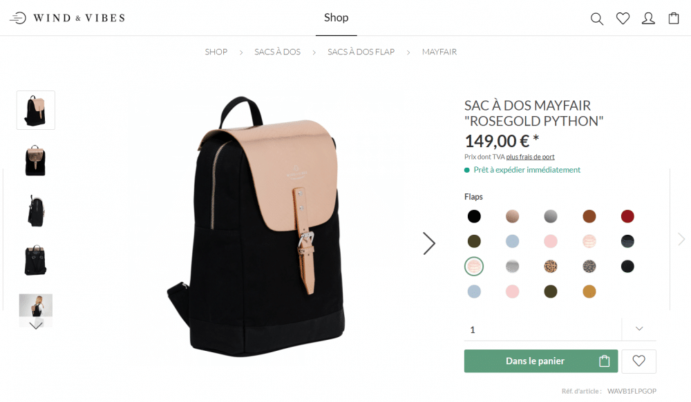 sac a dos wind and vibes rose gold